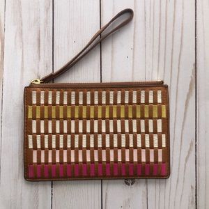 Fossil Leather Multicolored Wristlet
